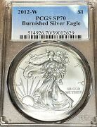 2012-w Burnished Silver Eagle Pcgs Sp70 White Easily Best Price On Ebay Chn