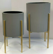 Pottery Barn Everly Gray Raised Planters With Gold Stand Set Of 2