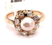 Ladies 14k Yellow Gold Vintage Pearl And Diamond Cocktail Ring Size 7
