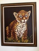 Large - Framed Leopard Oil Painting On Canvas By Nicolle. Signed. 31 X 37