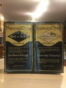 Vintage Litho Diamond Dyes Store Display Cabinet Tin Back Top And Doors 16x18x6