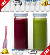 16 Oz Glass Bottles With Caps 10 Juice Smoothie Containers Metal White Lids