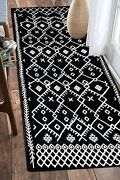 Upgraded Boho Runner Rug 2and039x6and039 Ft Border Washable Woven Rug For Hallway Kitchen