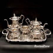 6 Pc Gorham Rosewood Silver Plated Tea Set Coffee Tray / Serving Pieces Yc1605