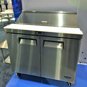 Atosa Msf8302 48 2 Door Sandwich Prep Unit 12 Stainless 1/6 Pans With Casters