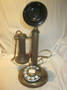 Working Western Electric Brass Candlestick E/w 4 Dial.