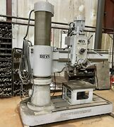 4and039 X 13 Ooya Re2-1300 Radial Arm Drill Power Clamp Power Elevation Box Table