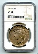 1927-d 1 Peace Silver Dollar Coin Ngc Ms-63