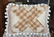 Antique Quilt And Vintage Chenille Bedspread Pillow With Ball Fringe Ships Free