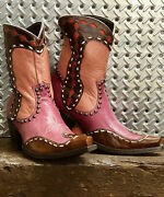 Ddbl059-1 Double D Ranch Bakersfield 8 Magenta Leather Ankle Boots