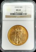 1910 D Gold United States 20 Dollar Saint Gaudens Coin Ngc Mint State 64