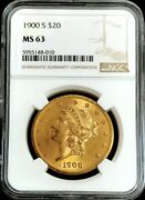 1900 S Gold United States 20 Dollar Liberty Head Double Eagle Ngc Mint State 63