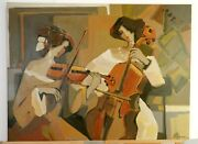 Euc Maimon Women Violinist And Cellist Original Mixed Media Painting Oil On Canvas