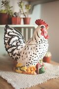 Spectacular Black And White Rooster Cookie Jar Nicely Detailed Cka Ceramic Chicken