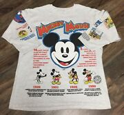 Vintage Disney History Of Mickey Mouse 90s Aop All Over Print T Shirt Size L