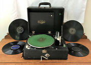 Antique Portable Cecilian Wind-up Working Phonograph Player W/records And Needles
