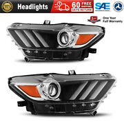 Headlights Headlamps Fit For 2015-2017 Ford Mustang Car Clear Led Tube Projector