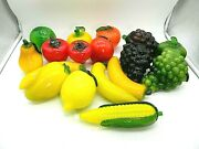 Glass Fruit And Vegetables Lenox And Murano Blown And Molded Lot Of 17