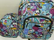 Vera Bradley Disney Campus Backpack And Lunch Bunch Mickey's Paisley Celebration