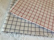 Pair Vintage Red White And Blue Woven Window Pane Check Linen Tea Dish Towels