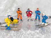 6 Vintage 40's Barclay Lead Toy Figures Skiers Skiing Ice Skaters Sledder