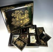 Antique Edwardian Orientalist Game Gaming Chest, Mother Of Pearl Chips, Cards +