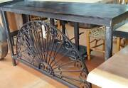 Torched Heart Pine Console Table And Iron Base