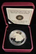 2013 Canadian 20 Proof Silver Coin The Bald Eagle Portrait Of Power W/coa
