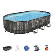 Bestway Power Steel 20x12x4 Foot Above Ground Oval Pool Set For Parts