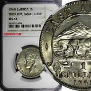 East Africa George Vi Silver 1941 I Shilling Ngc Ms63 Thick Rim Rare Km28.28