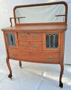 Vtg Victorian Tiger Oak Server / Sideboard With Leaded Glass Doors And Claw Feet