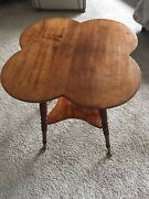 Four Leaf Clover Ball And Claw Legs Side Table Cherry Wood Antique. For Any Room