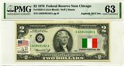 2 Dollars 1976 Stamp Cancel Flag Un From Italy Lucky Money Value 3000