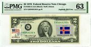 2 Dollars 1976 Stamp Cancel Flag Un From Iceland Lucky Money Value 3000