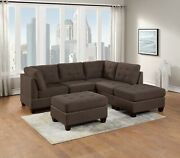 6-pc L-sectional Couch Tufted Sofa Chaise Wedge Chairs Living Room Black Coffee