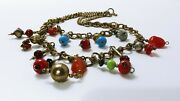 Early Miriam Haskell Style Book Chain Necklace Glass Stone Trade Bead Unsigned