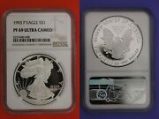 1993 P Pf 69 Eagle Ngc Ultra Cameo Certified Graded Authentic Silver Oce 194