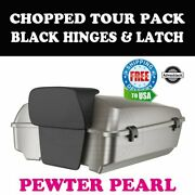 Pewter Pearl Chopped Tour Pack Black Hinges Latch Fit 97-20 Harley Touring
