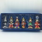 6 Disney Mickey Through The Years Glass Christmas Ornaments Hand Blown Glass
