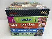 Lot Of 5 Springbok 1000 Piece Jigsaw Puzzles Cats Candy Balloons Europe 🧩
