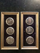 Two Framed Assortment Antique Powder Compact Covers Silver Plated D=3 01619