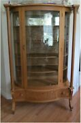Antique Oak Empire Style Curved China Cabinet