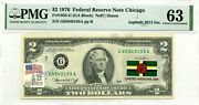 2 Dollars 1976 Stamp Cancel Flag Un From Dominica Lucky Money Value 3000