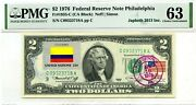 2 Dollars 1976 Stamp Cancel Flag Un From Colombia Lucky Money Value 3000