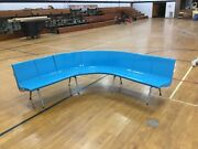 Vtg Retro Turquoise Curved Bowling Alley Bench Seats Mcm 1 Of 3 Sets Brunswick