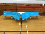 Vtg Retro Turquoise Bowling Alley Bench W/built In Table Set Mcm 1 Of 3 Set