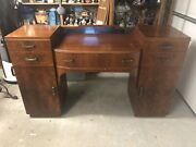 Antique Art Deco Mahogany Buffet Sideboard Cabinet  With Cool Blue Mirror Clean