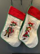 Vintage House Of Hatten Christmas Stockings Lot Of 2 Boy And Girl With Presents