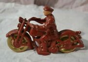 Vintage Toy Cast Iron Motorcycle With Rider Patrol On The Tank