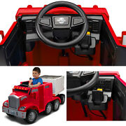 Semi Truck Trailer Ride Toy For Kids Trax Red With 12 Volt Rechargeable Battery